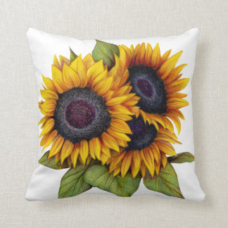 Orange yellow watercolor big sunflowers cushion