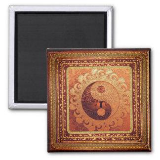 Orange Yin Yang Square Magnet