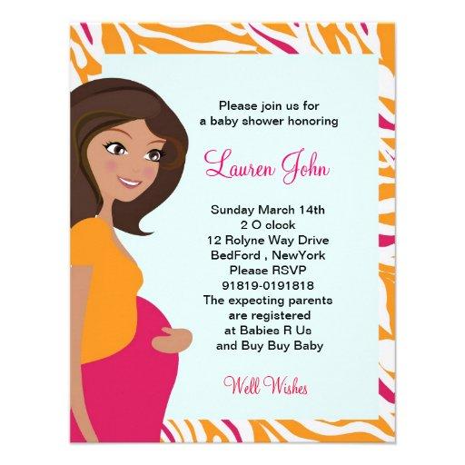 Orange Zebra Baby Shower invitation