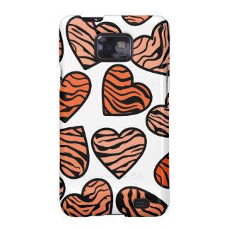Orange zebra hearts BlackBerry Samsung Galaxy Case Samsung Galaxy SII Covers