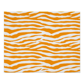 Orange Zebra Stripes Print