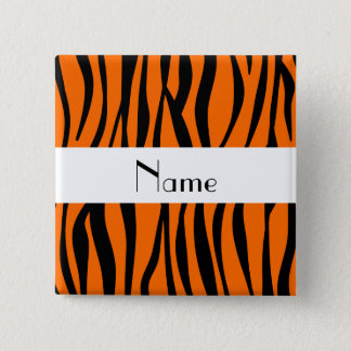 Orange zebra stripes white stripe 15 cm square badge