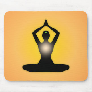 Orange Zen Meditation Sunburst Mouse Pad
