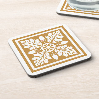 Orange Zest Acorn and Leaf Tile Design Coaster