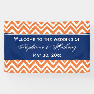 Orange Zigzag Pattern with Royal Blue Wedding Banner