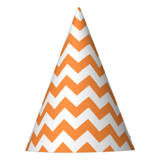 Orange Zigzag Stripes Chevron Pattern Party Hat