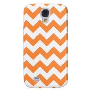 Orange Zigzag Stripes Chevron Pattern Samsung Galaxy S4 Cases