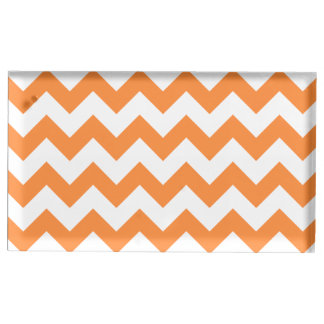 Orange Zigzag Stripes Chevron Pattern Table Card Holders