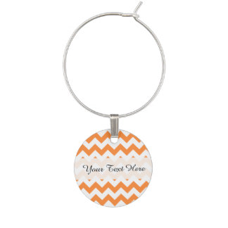 Orange Zigzag Stripes Chevron Pattern Wine Charm
