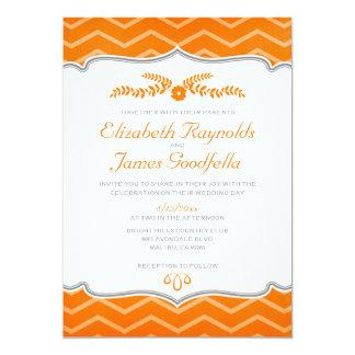Orange Zigzag Wedding Invitations