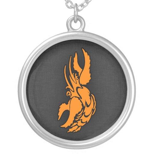 Orange Zodiac Cancer Sign Necklaces