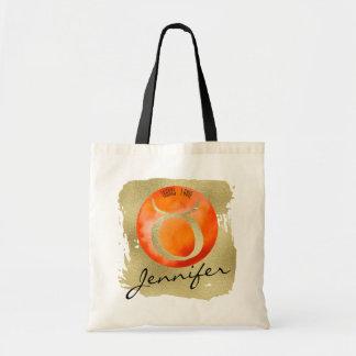 Orange Zodiac Sign Taurus on Gold Background Tote Bag