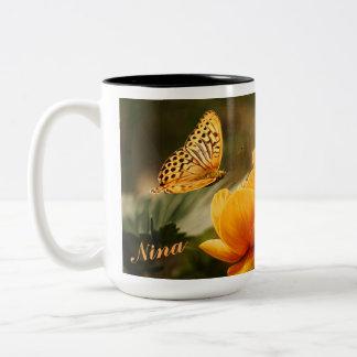 OrangeButterfly, Orange Flowers Two-Tone Coffee Mug