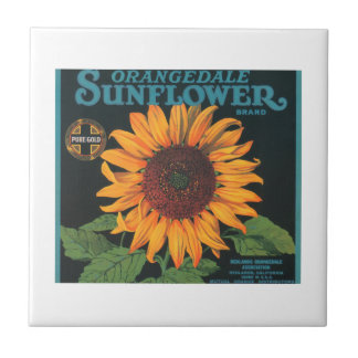 Orangedale Sunflower Brand Vintage Crate Label Small Square Tile
