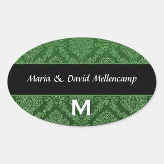 Orangel Monogram Wedding Damask V06 Oval Sticker