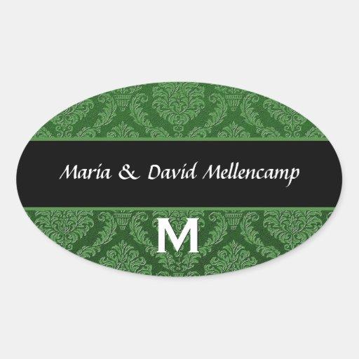 Orangel Monogram Wedding Damask V06 Sticker