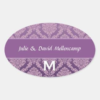 Orangel Monogram Wedding Damask V07 Oval Sticker