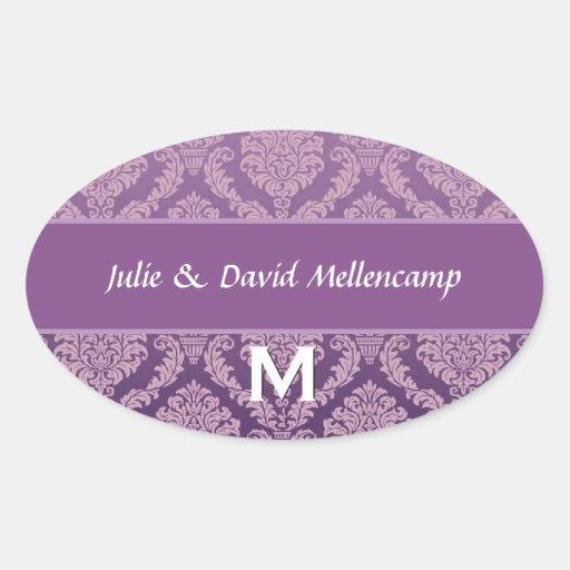 Orangel Monogram Wedding Damask V07 Sticker