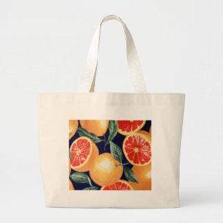 Oranges pattern, blood oranges pink grapefruit large tote bag