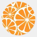 oranges. round stickers