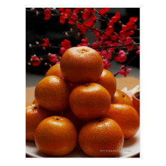 Oranges stacked on plate postcard