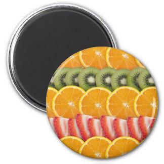 Oranges, Strawberries and Kiwi Fruit 6 Cm Round Magnet