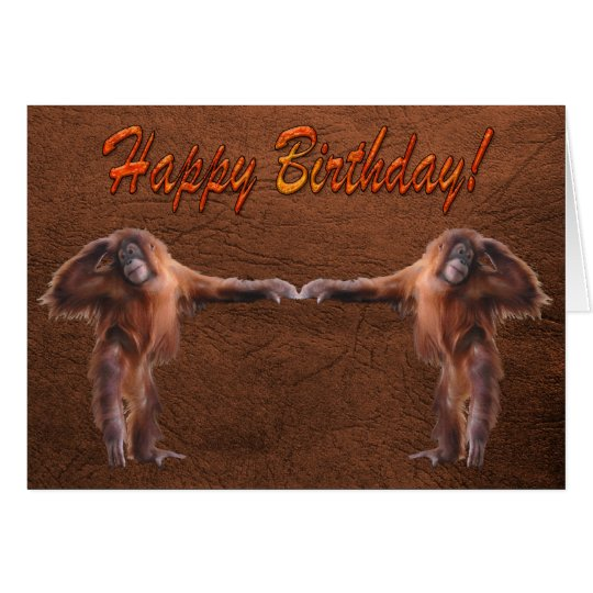 Orangutan Babies Wildlife Supporter Birthday Card
