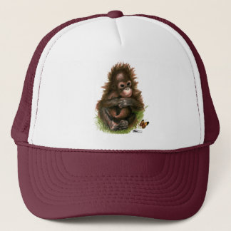 Orangutan Baby and Butterfly Trucker Hat