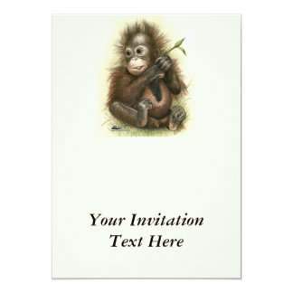 Orangutan Baby With Leaves 13 Cm X 18 Cm Invitation Card