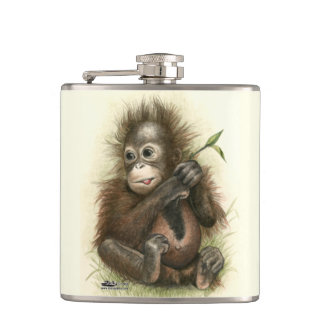 Orangutan Baby With Leaves Hip Flask