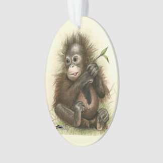 Orangutan Baby With Leaves Ornament