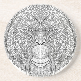 Orangutan Monkey Tee - Tattoo Art Style Coloring Coaster