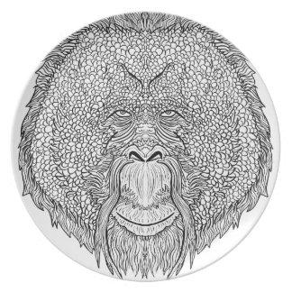 Orangutan Monkey Tee - Tattoo Art Style Coloring Party Plates