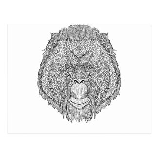Orangutan Monkey Tee - Tattoo Art Style Coloring Postcard