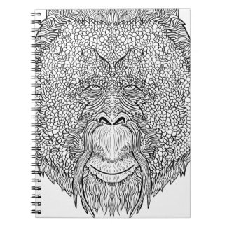Orangutan Monkey Tee - Tattoo Art Style Coloring Spiral Notebook
