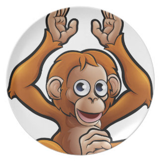 Orangutan Safari Animals Cartoon Character Plate