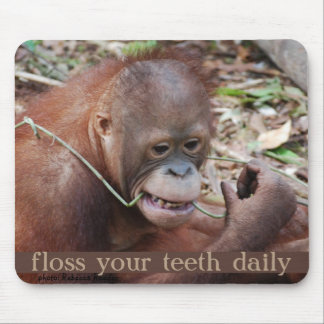 Orangutan Tooth Care Flossing Mouse Pad