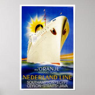 Oranje Nederland Line Posters