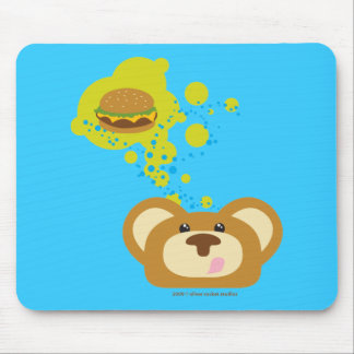 orbie bear with cheese burger mouse pad