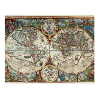 Orbis Terrarum 1594 - Famous World Map Postcard
