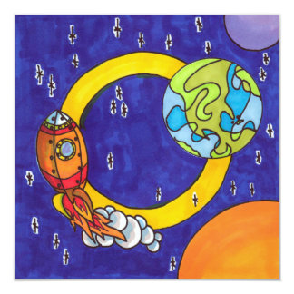 Orbiting rocket in the night sky card