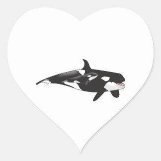 ORCA AND CALF HEART STICKER