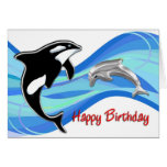 Orca and Dolphin in the Waves Birthday Greeting Card