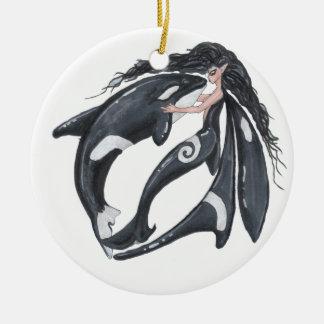 Orca and Fairy Ceramic Ornament