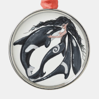 Orca and Fairy Metal Ornament