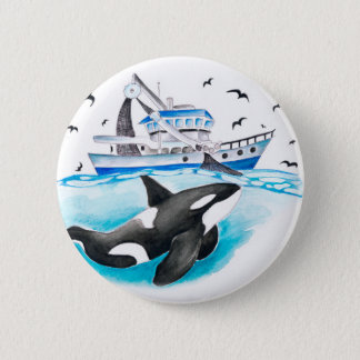 Orca And The Boat 6 Cm Round Badge