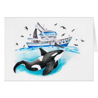 Orca And The Boat Card