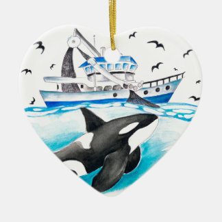 Orca And The Boat Ceramic Ornament
