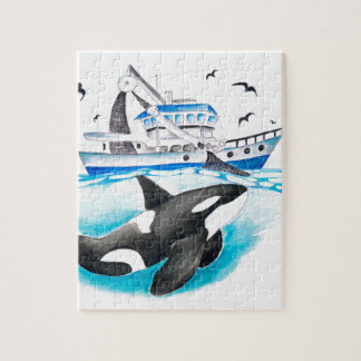 Orca And The Boat Jigsaw Puzzle
