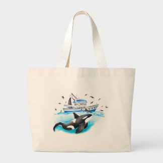 Orca And The Boat Large Tote Bag